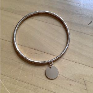 Disk Charm Gold Bangle Bracelet